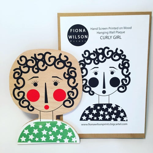 Image of Curly Girl - hand screen printed wall plaque