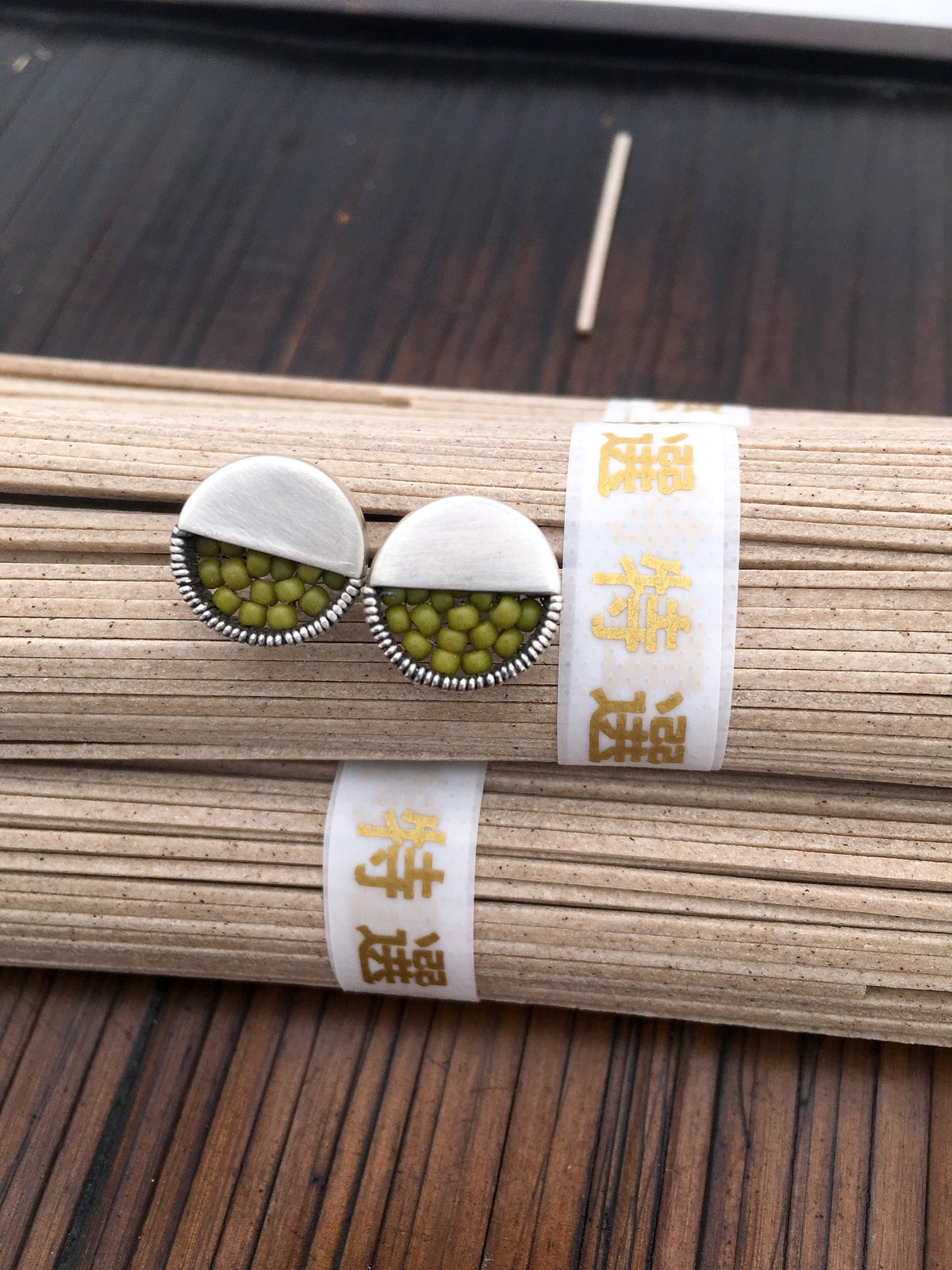 Image of Small Stud Earrings - Olive