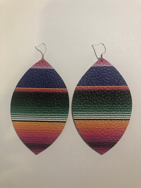 Image of Handmade Earrings - Serape Large and Small Leaf