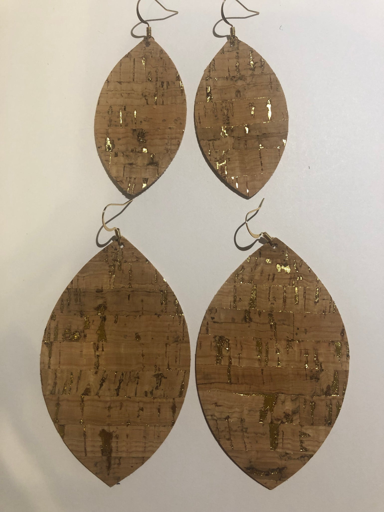 Image of Natural Cork Earrings with Gold - Large and Small Leaf