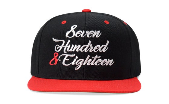 Image of SEVEN HUNDRED & EIGHTEEN (BLACK/RED) - SNAPBACK