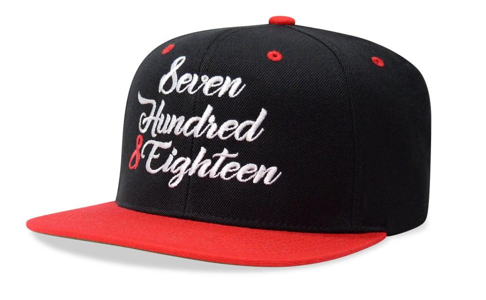 Image of SEVEN HUNDRED & EIGHTEEN (BLACK/RED) - SNAPBACK