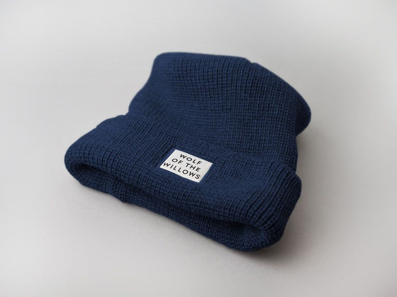 Image of Wolf Beanie - Navy Blue