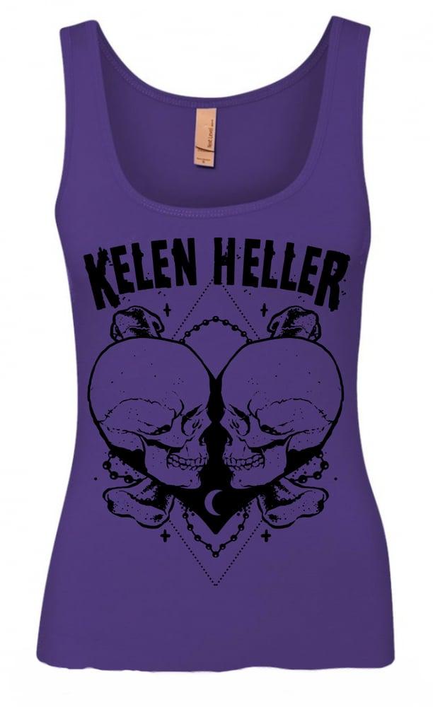 """Image of Ladies/Girls """"Heart of Skulls"""" Purple Rush Tank"""