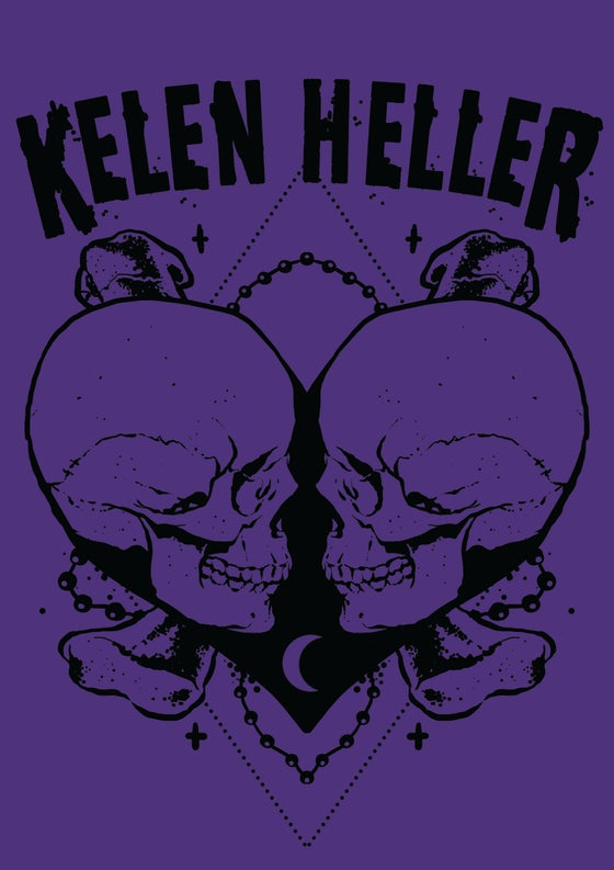 "Image of Ladies/Girls ""Heart of Skulls"" Purple Rush Tank"