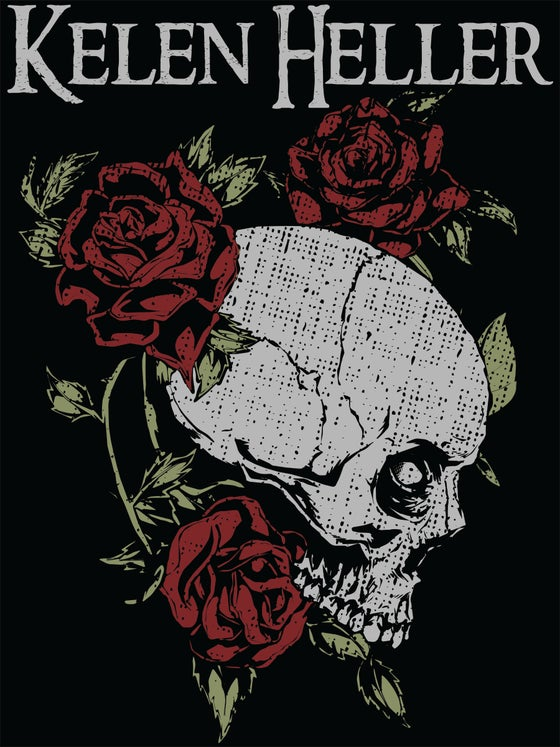 Image of Girls/Ladies Skull and Roses V-Neck T!!