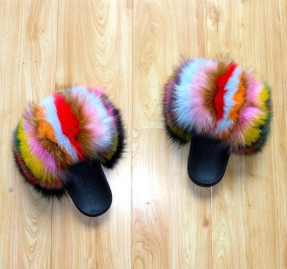 Image of Cece's Fur Slippers Multi - Color