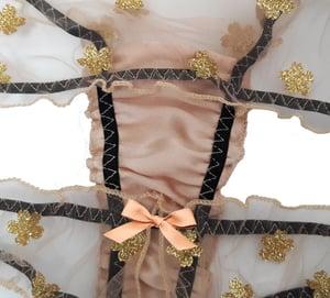 Image of LOLA Gold glitter flower Tulle Thong