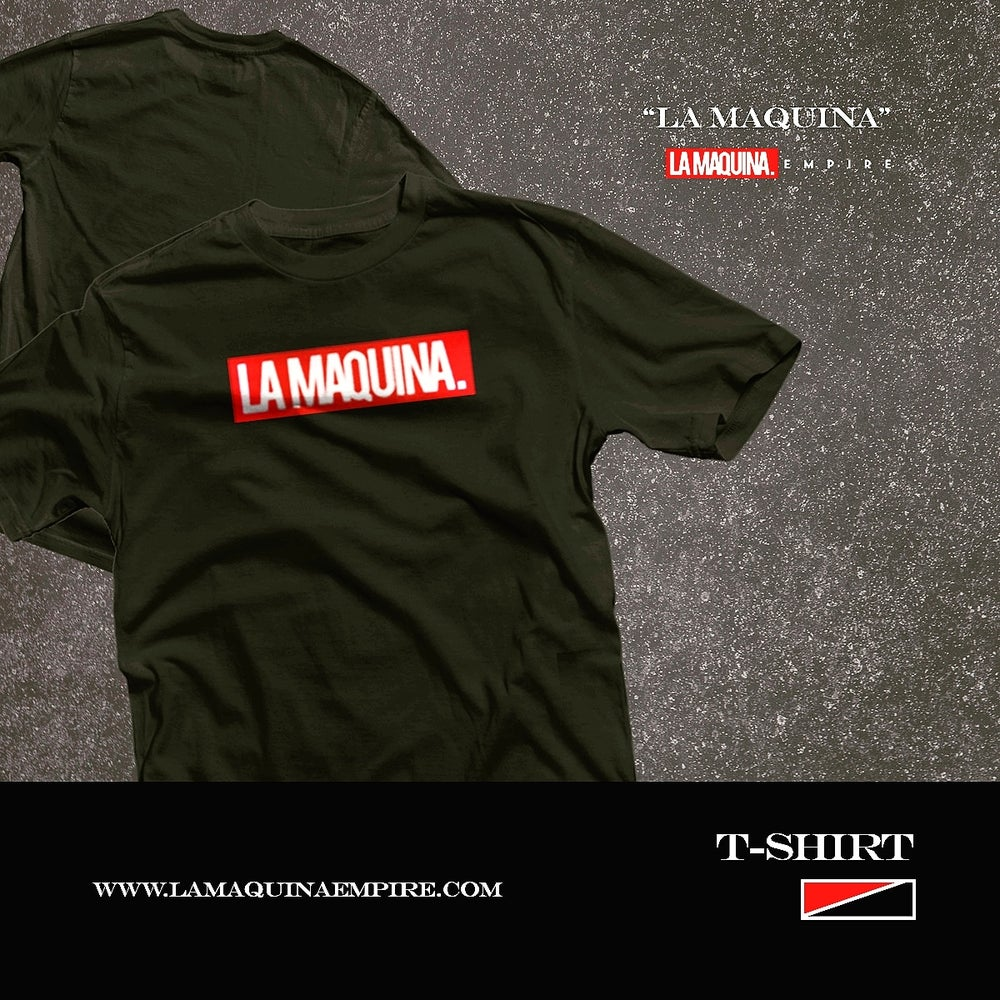"""Image of Classic LaMaquina """"Stamp"""" Tee (Black/Red/White)"""