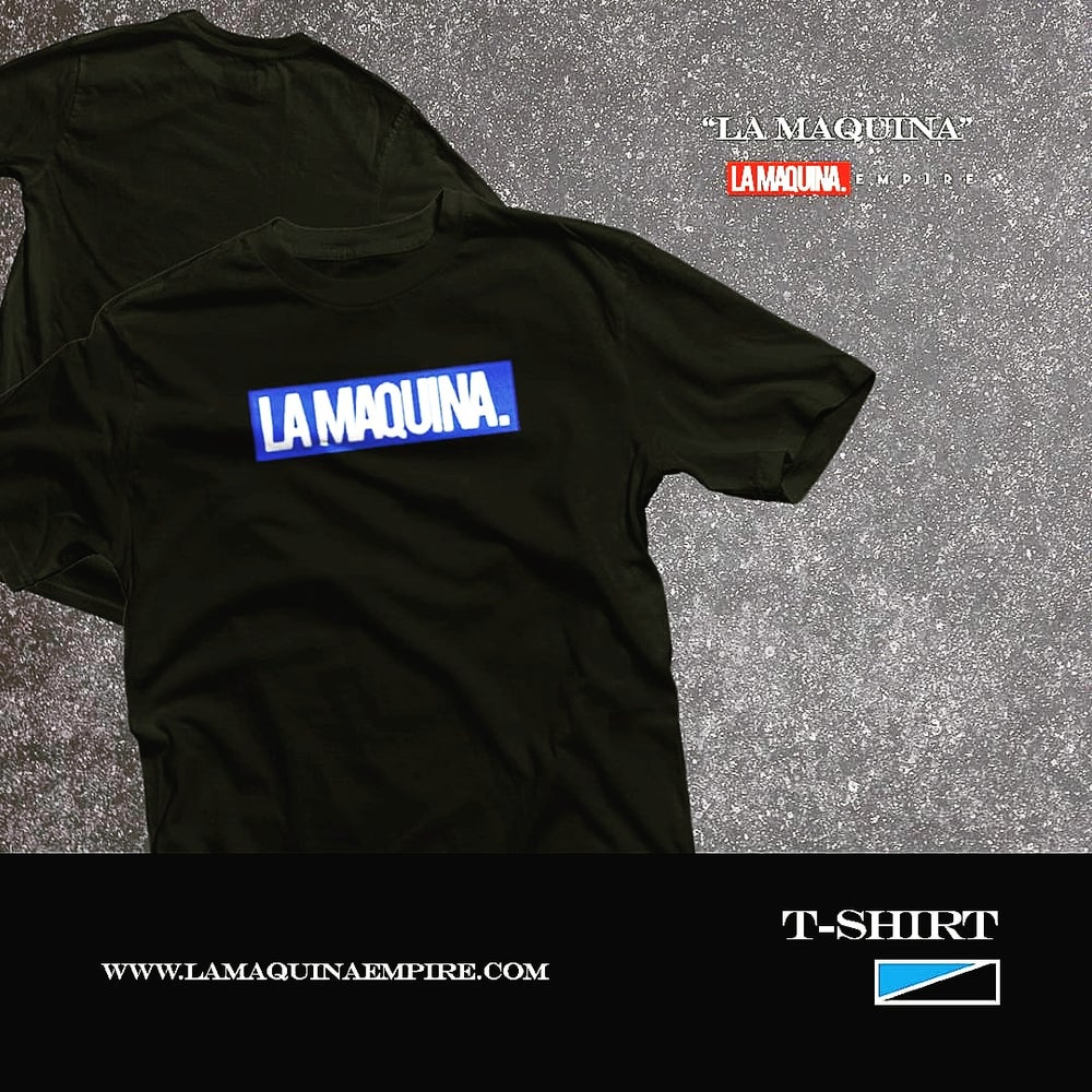 "Image of Classic LaMaquina ""Stamp"" Tee (Black/Royal/White)"