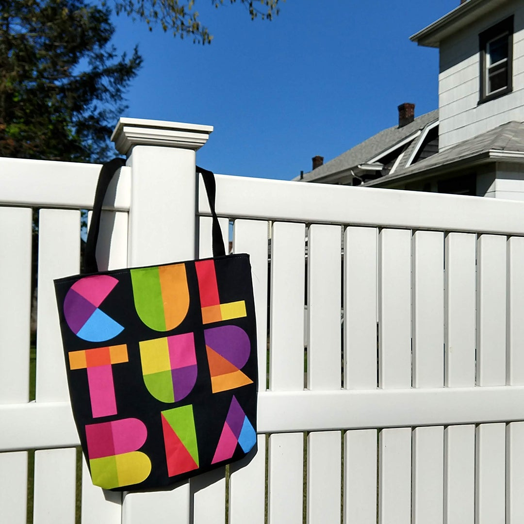 Image of Two-sided black tote bag
