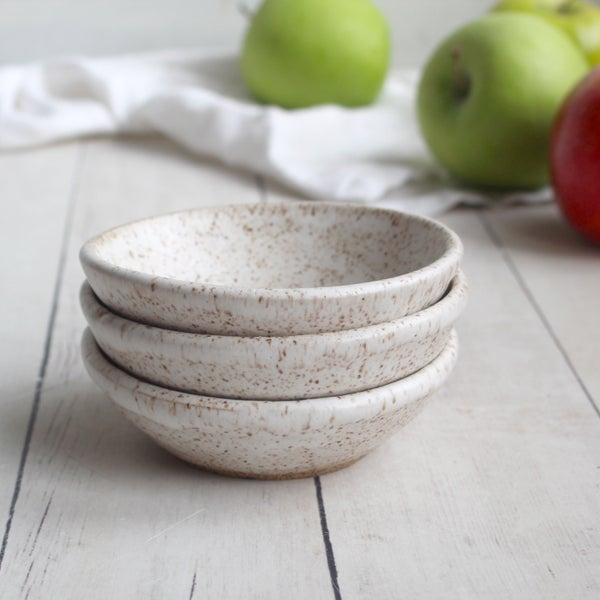 Image of Small Ceramic Bowls, Set of Three Speckled White Pottery Bowls, Made in USA