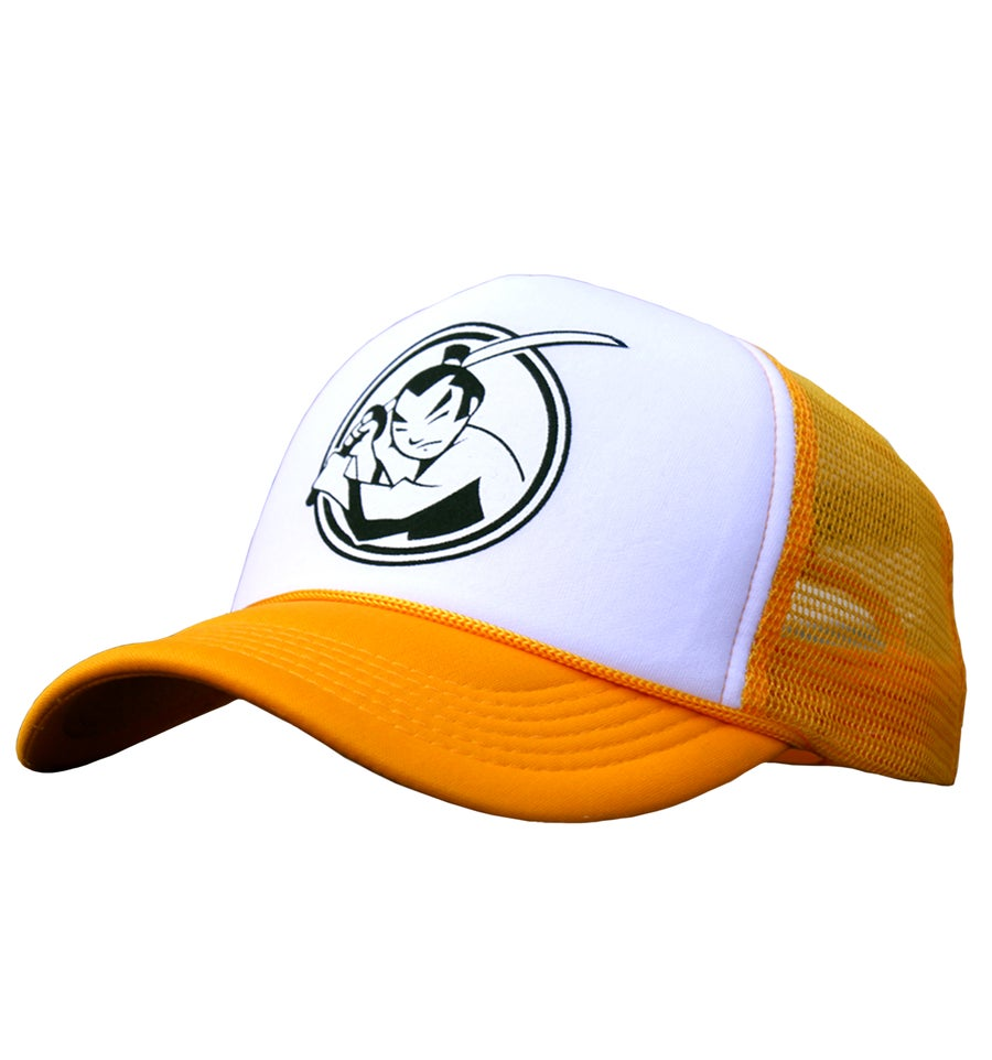 Image of FM Huntsville Samurai Logo Trucker hat (Sun Gold)