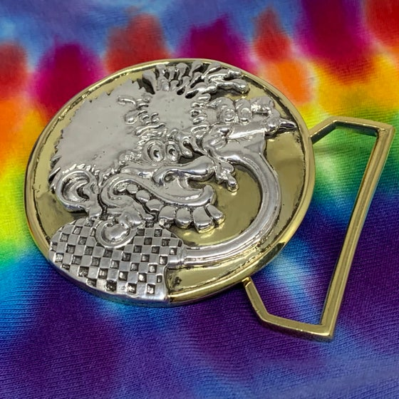 Image of Ice Cream Cone Kid Belt Buckle Cast in Yellow Brass & Silver