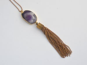 Image of Amethyst gemtone cut pendant with chain tassel