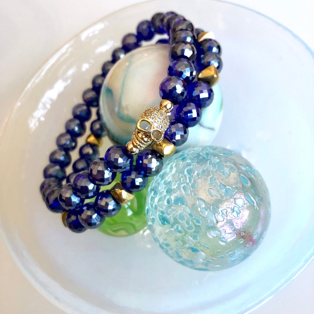 Image of Blue Skull Crystal Bracelet Set