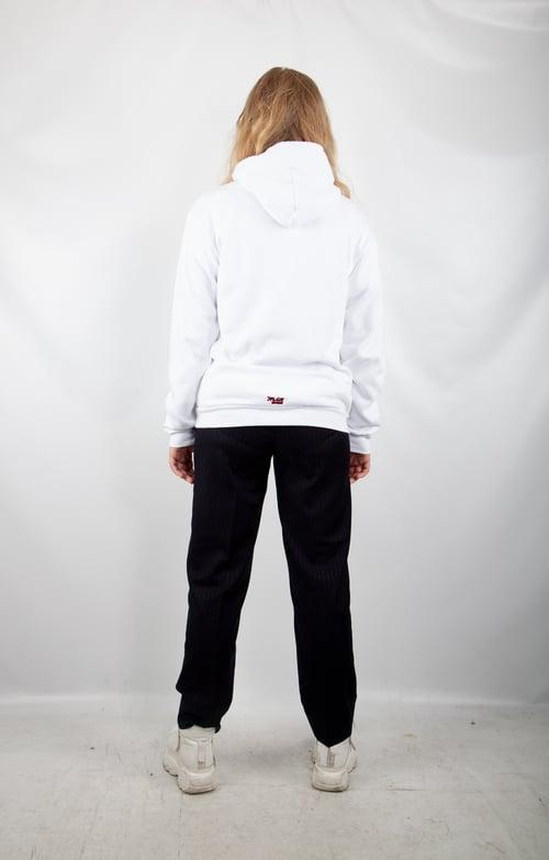 Image of white logo hoodie