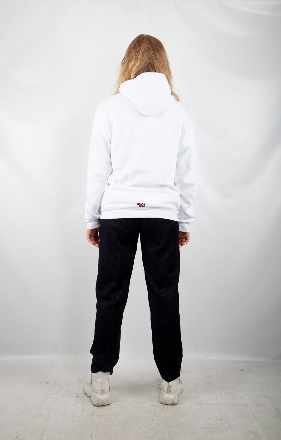 Second Image of white logo hoodie
