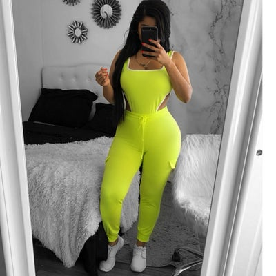 Image of Neon bodysuit jogger set