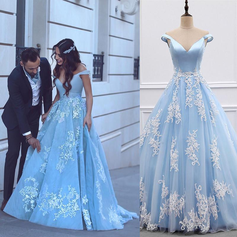 b6027f843c07 Image of Off The Shoulder Light Blue Tulle Princess A-line Long Prom Evening  Gown ...