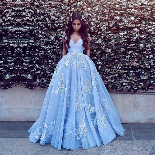 Image of Off The Shoulder Light Blue Tulle Princess A-line Long Prom Evening Gown With Lace Applique