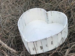 Image of Antique White Heart Photo Prop, Newborn Heart, Wood Heart, Heart Bowl, Heart Prop, Baby Heart