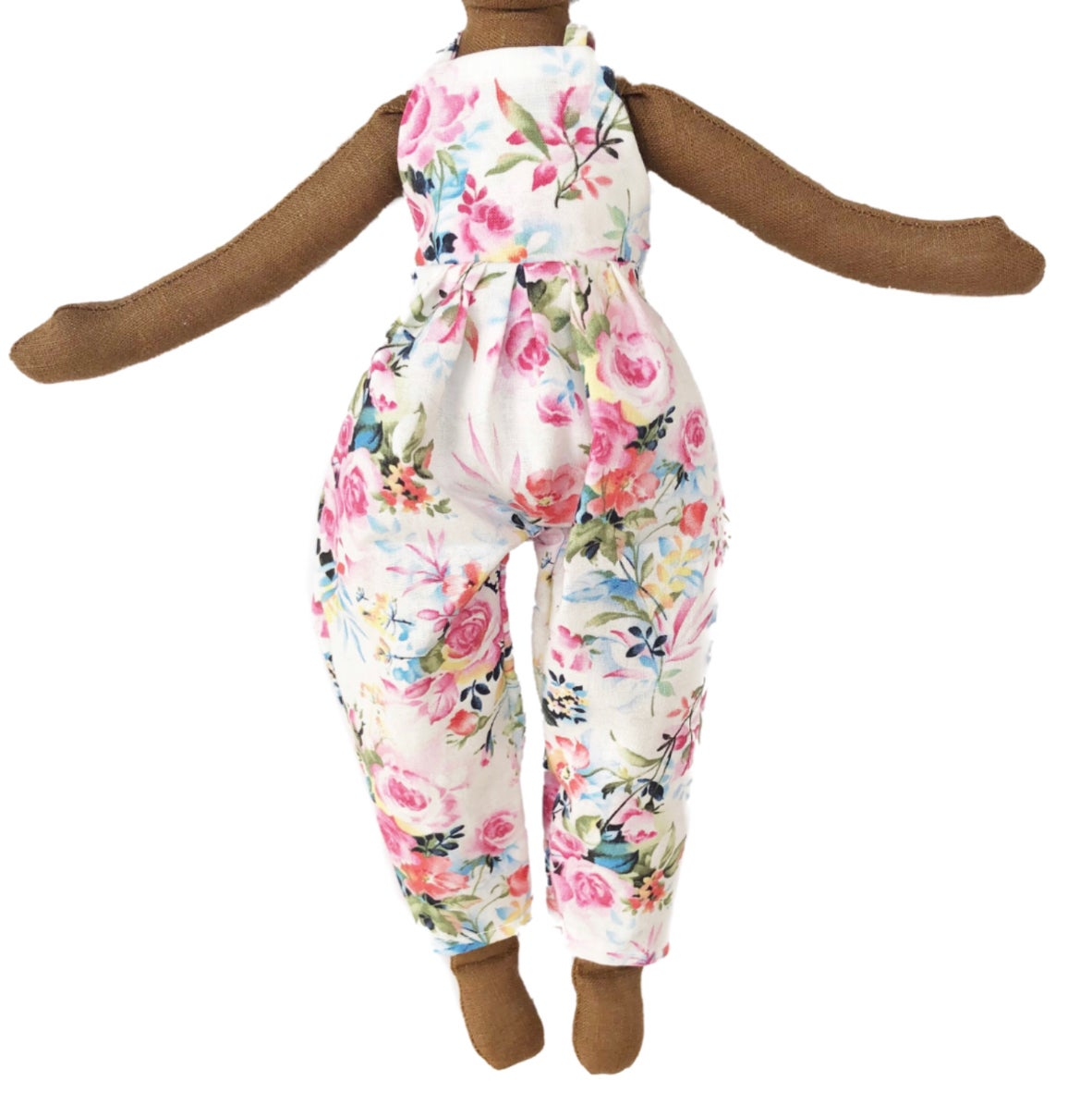 Pink Floral jumper - Doll Accessory (PLEASE NOTE: THIS ORDER WILL SHIP ON OR BEFORE JULY 1ST)