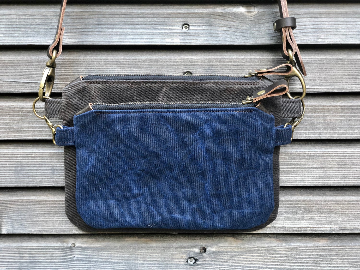 Image of Waxed canvas day bag / small messenger bag/ kangaroo bag with waxed leather shoulder strap