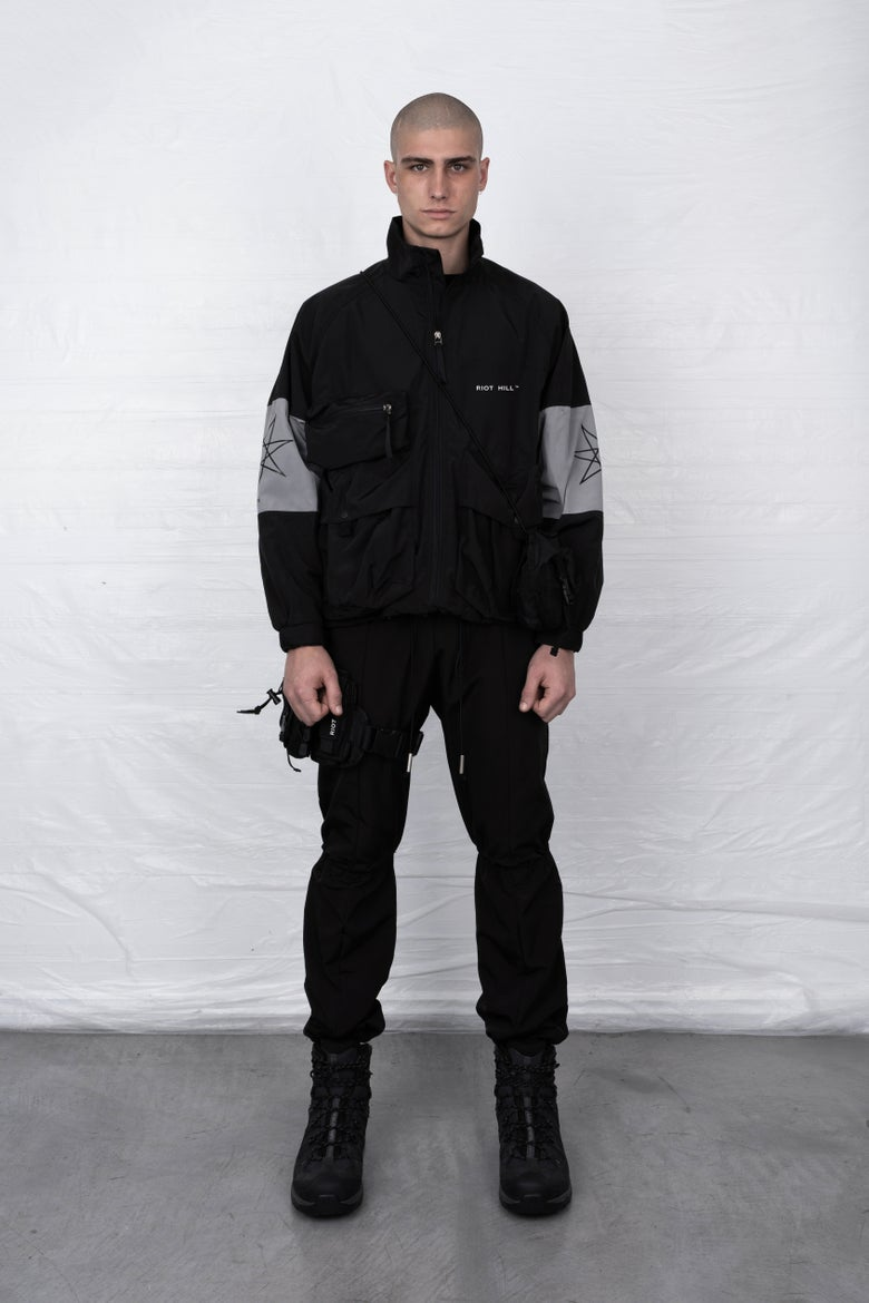 Image of BLACK CARGO TRACK JACKET