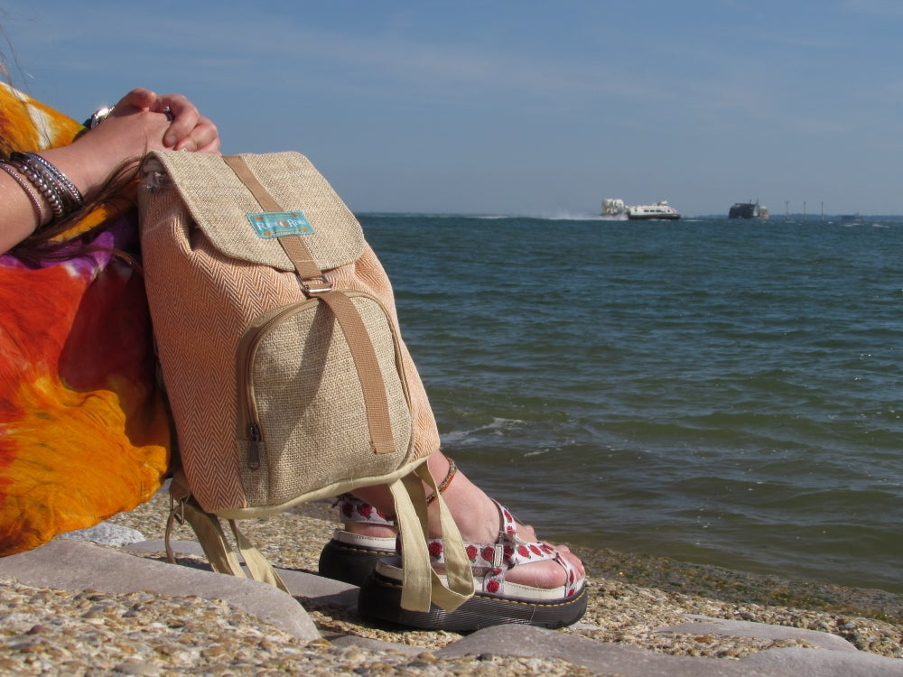 Moonchild Hemp Daypack - Orange | 100% Vegan | Eco Friendly | Handmade | Himalayan Hemp