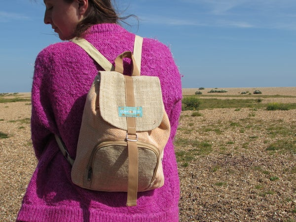 Image of Moonchild Hemp Daypack - Orange | 100% Vegan | Eco Friendly | Handmade | Himalayan Hemp