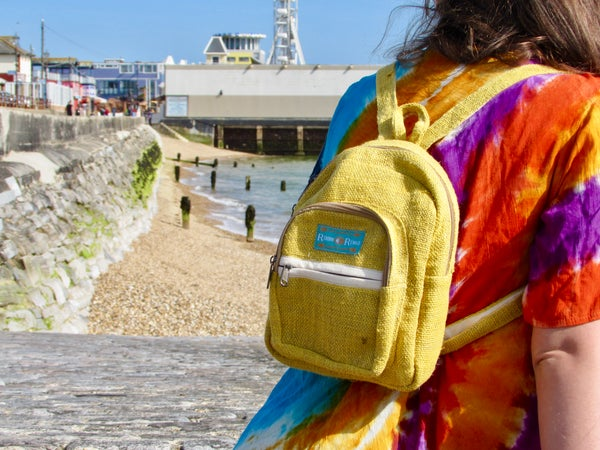 Image of Pure Hemp Mini Backpack - Citrine | 100% Vegan | Eco Friendly | Handmade | Himalayan Hemp