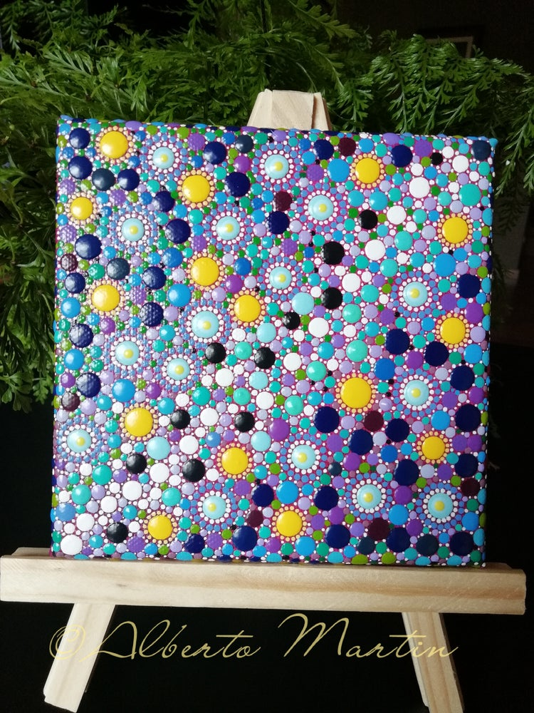 Image of Sun and Stars Dotart painted canvas by Alberto Martin