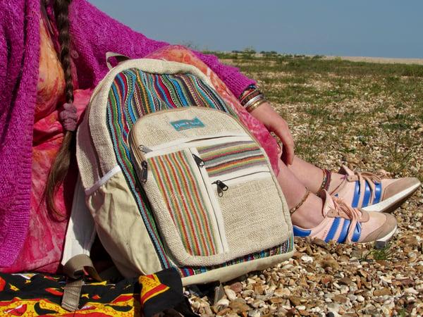 Image of Rainbow - Hemp Backpack   100% Vegan   Eco Friendly   Handmade   Himalayan Hemp
