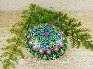 Image of Spring spiral Mandala stone hand painted dot art by Alberto Martin