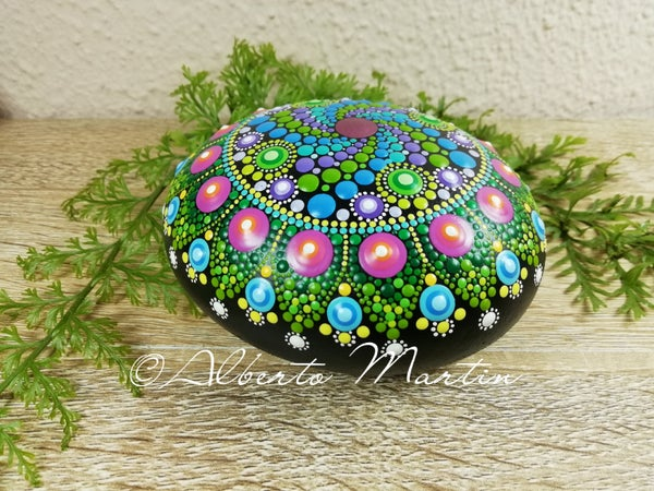 Image of Spring spiral Mandala stone hand painted dot art by Alberto Martin