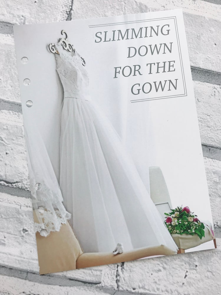 Image of A5 WEDDING FOOD DIARY ORGANISER INSERT SLIMMING DOWN FOR THE GOWN