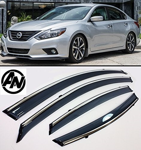 Image of (L33) 13-18 Altima Smoked & Chrome Trimmed Window Wind/Rain Deflector