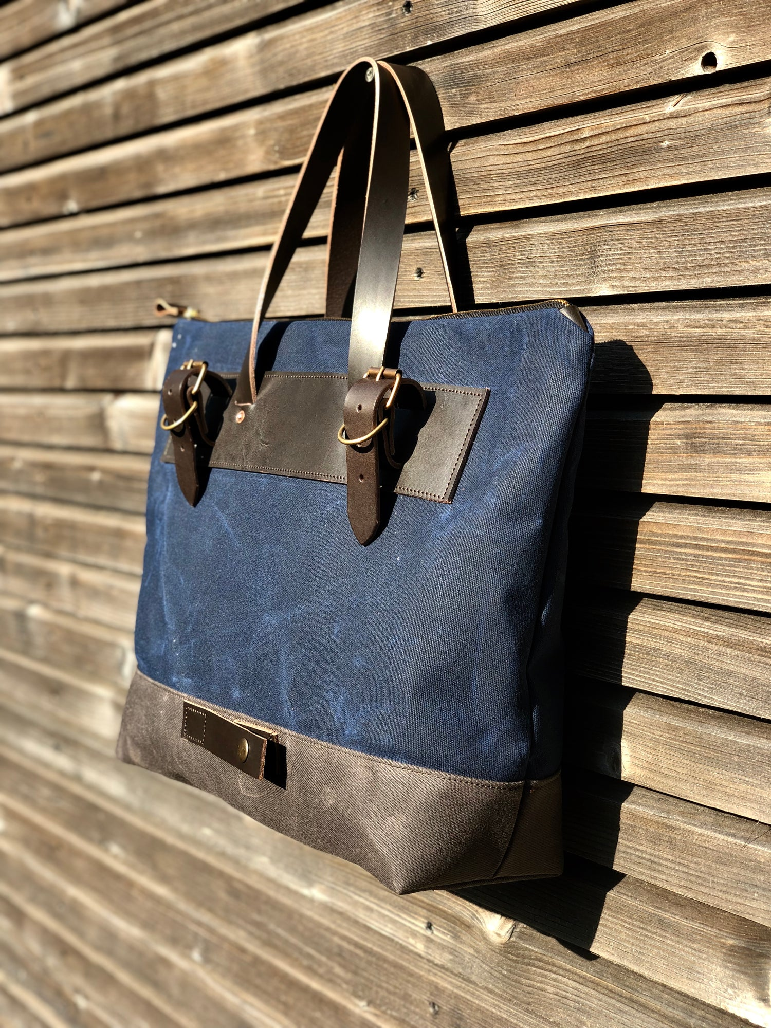 Image of Waxed canvas pannier / bicycle bag with zipper closure / cycle tote bag / bike accessories