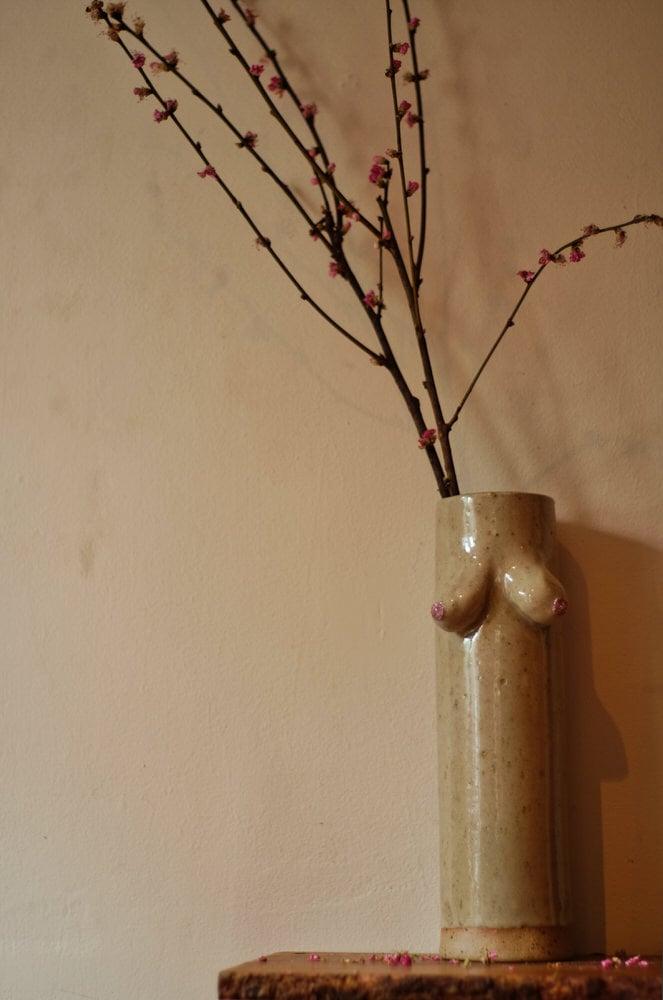 "Image of 12.5"" Pink Glitter Nipple Cylinder Boob Vase"