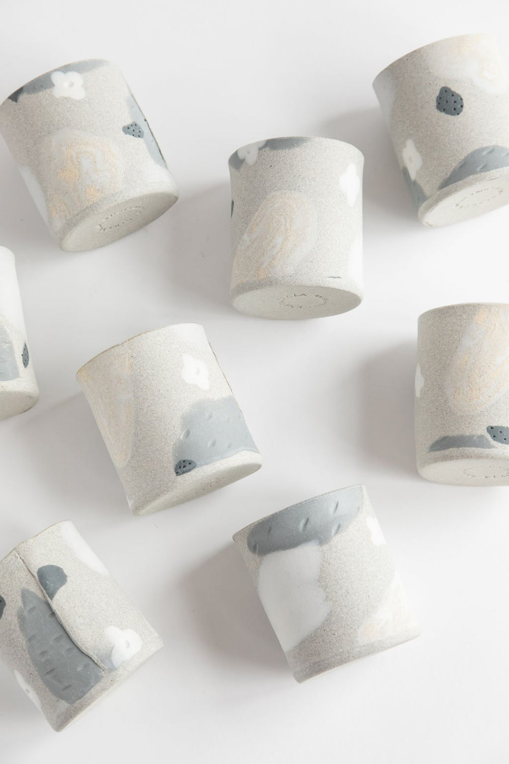 Image of White Flower Granite Slate Handleless Mug