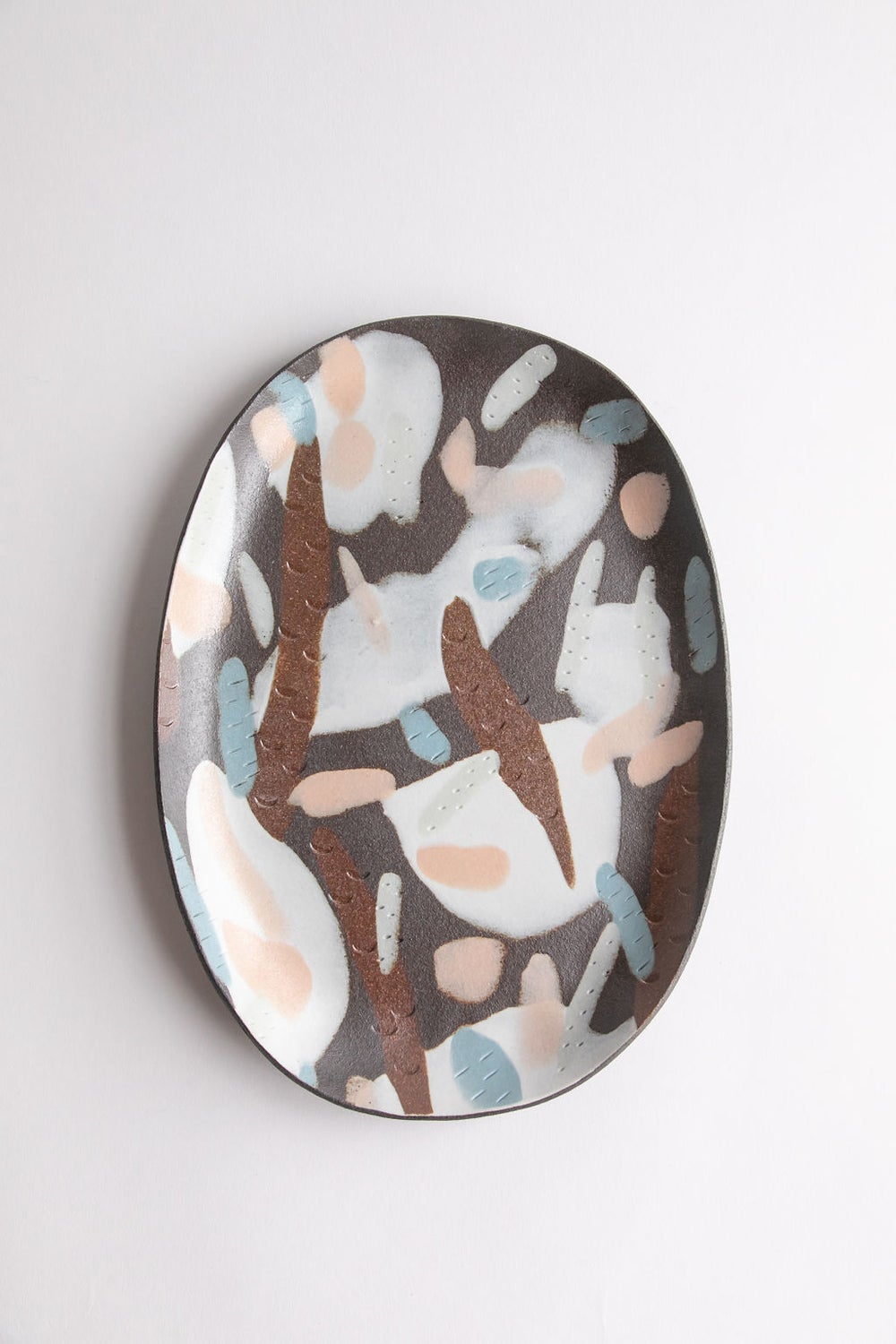 Image of X-Large Porcelain Inlay Serving Platter - Dark Brown w/ pastel pink, blue and green