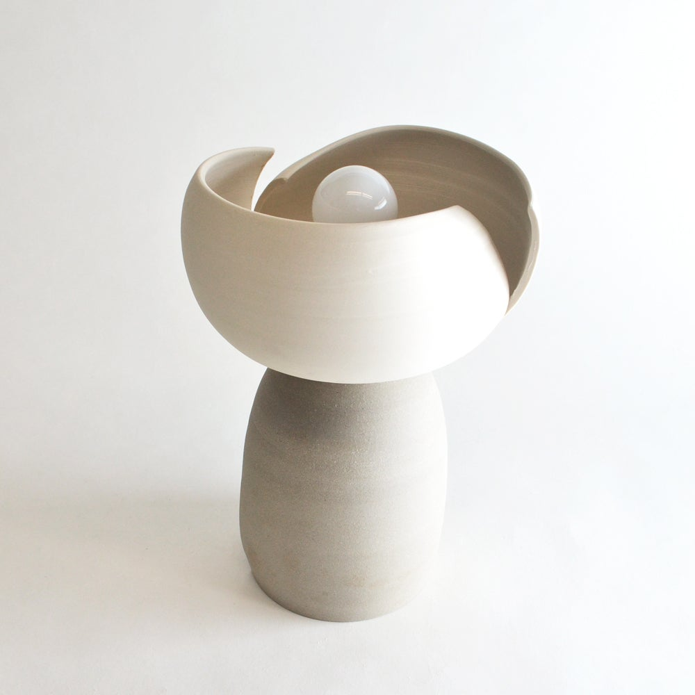 Image of Split Accent Lamp - white & taupe