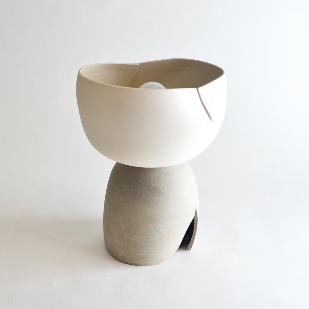 Image of Dart Accent Lamp - white & taupe