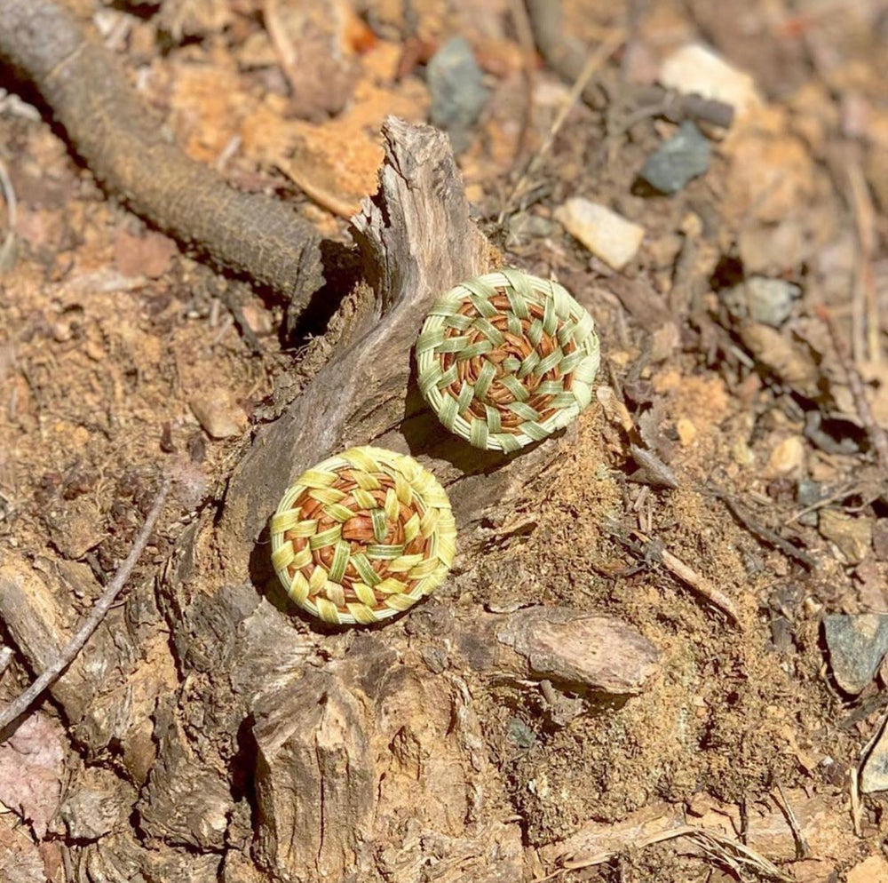 Image of Sweetgrass & Pine Needle Stud Earrings