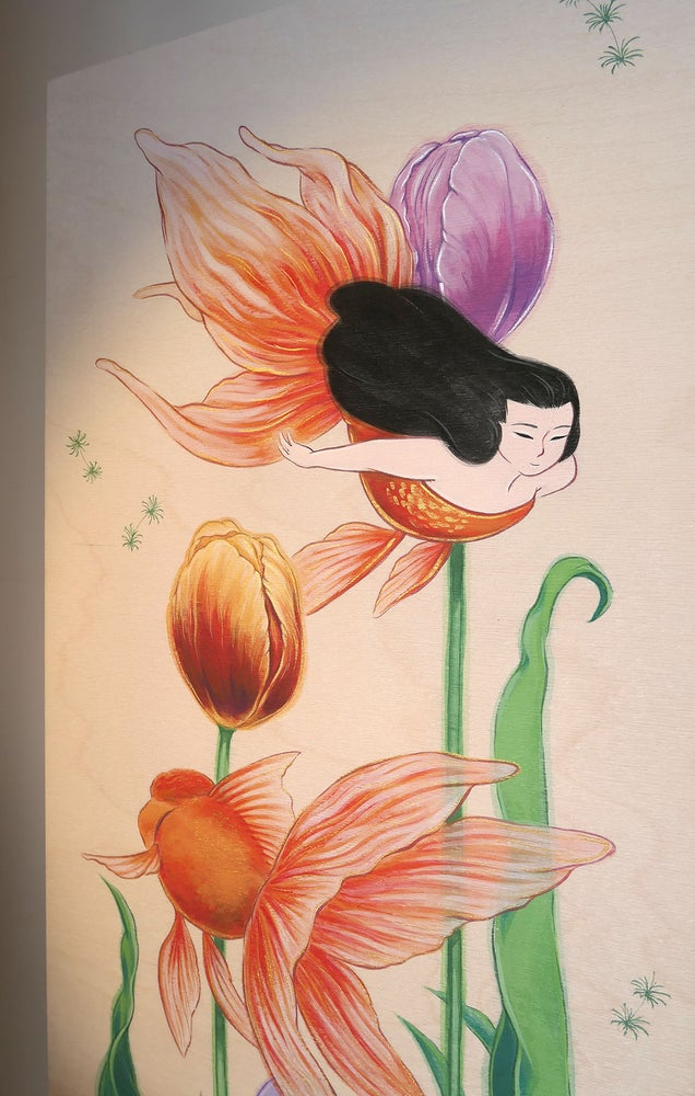 Image of Goldfish and Tulips