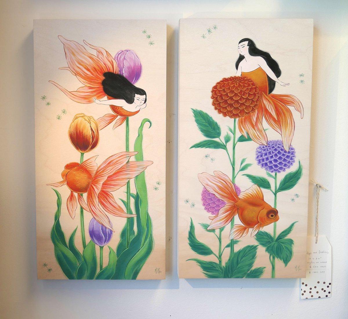 Goldfish and Dahlias