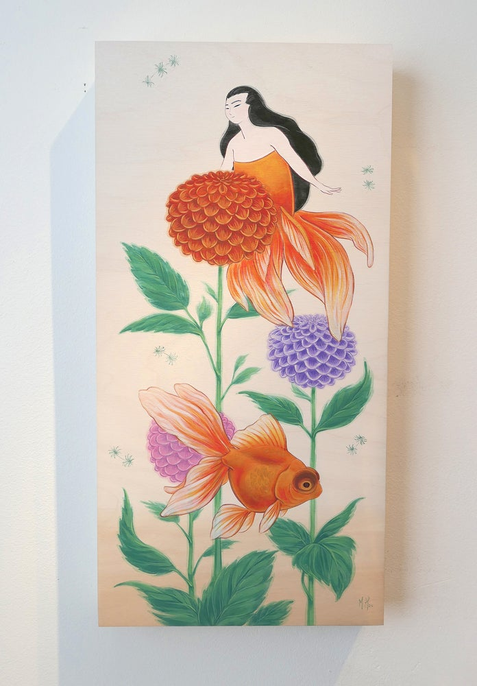Image of Goldfish and Dahlias