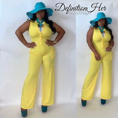 Image of Yellow Glam Girl Jumpsuit