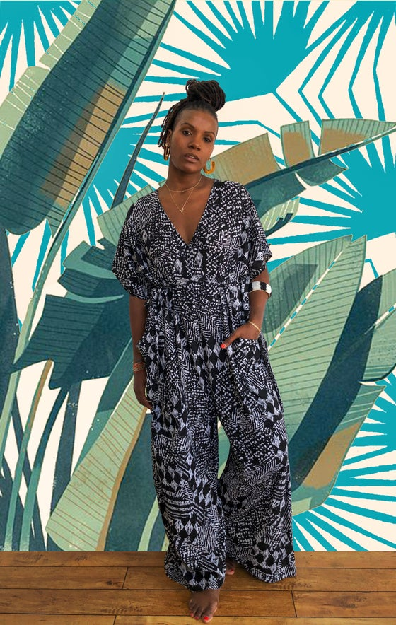 Image of •Déwo• kaftan jumpsuit: salt + pepper prowl